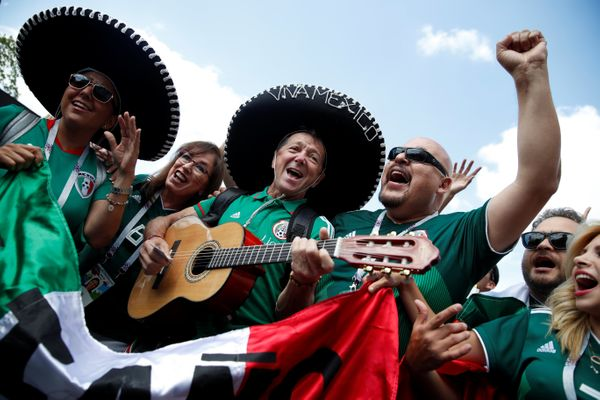 Mexico fans outside Luzhniki Stadium before the match in Moscow, Russia.