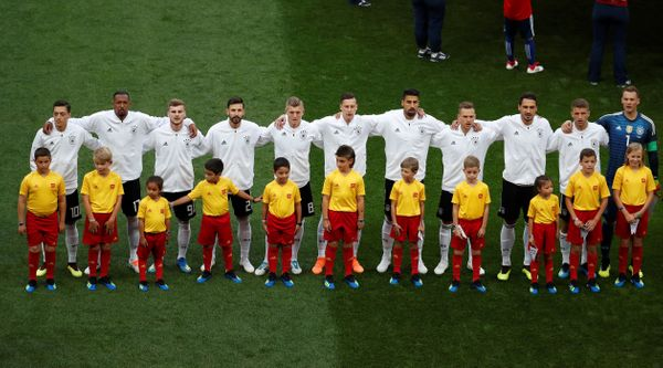 Team Germany players line up before the match.