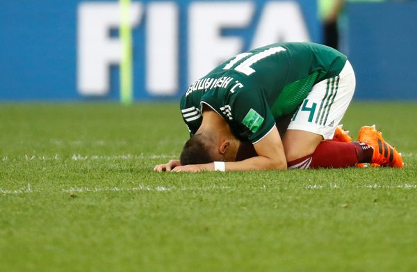 Mexico's Javier Hernandez celebrates after the match.