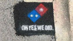 도미노 피자가 미국에서 도로 보수공사를 하고 있다(사진,