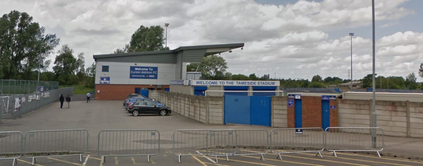 Eight men were arrested after a violent protest at Curzon Ashton's Tameside Stadium in Ashton-under-Lyne on Saturday