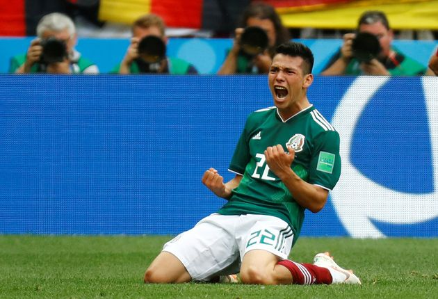 Mexico's Hirving Lozano celebrates scoring their first and winning goal against Germany at the World Cup in Russia