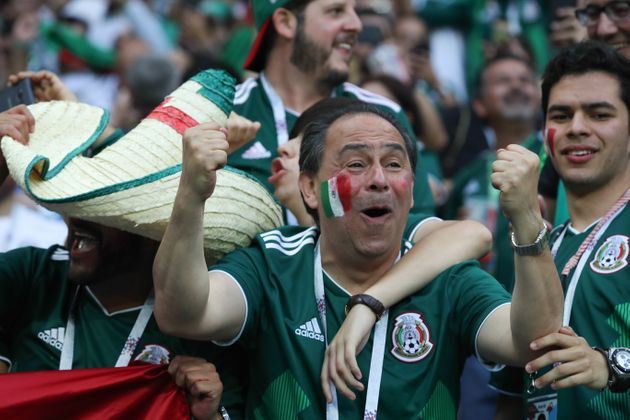 Mexico fans celebrate their team's victory in Russia