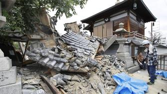 Damaged Myotoku-ji temple caused by an earthquake is seen in Ibaraki, Osaka prefecture, western Japan, in this photo taken by Kyodo June 18, 2018.   Mandatory credit Kyodo/via REUTERS ATTENTION EDITORS - THIS IMAGE WAS PROVIDED BY A THIRD PARTY. MANDATORY CREDIT. JAPAN OUT. NO COMMERCIAL OR EDITORIAL SALES IN JAPAN.