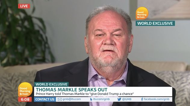 "Thomas Markle during an interview with ""Good Morning Britain"" earlier this year."