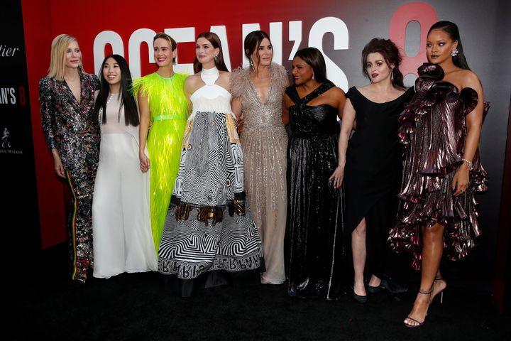 """Ocean's 8"" cast members Cate Blanchett, Awkwafina, Sarah Paulson, Anne Hathaway, Sandra Bullock, Mindy Kaling, Helena Bonham"