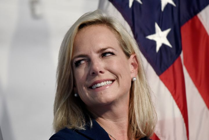 Homeland Security Secretary Kirstjen Nielsen participates in a the U.S. Coast Guard Change-of-Command Ceremony on June 1, 201
