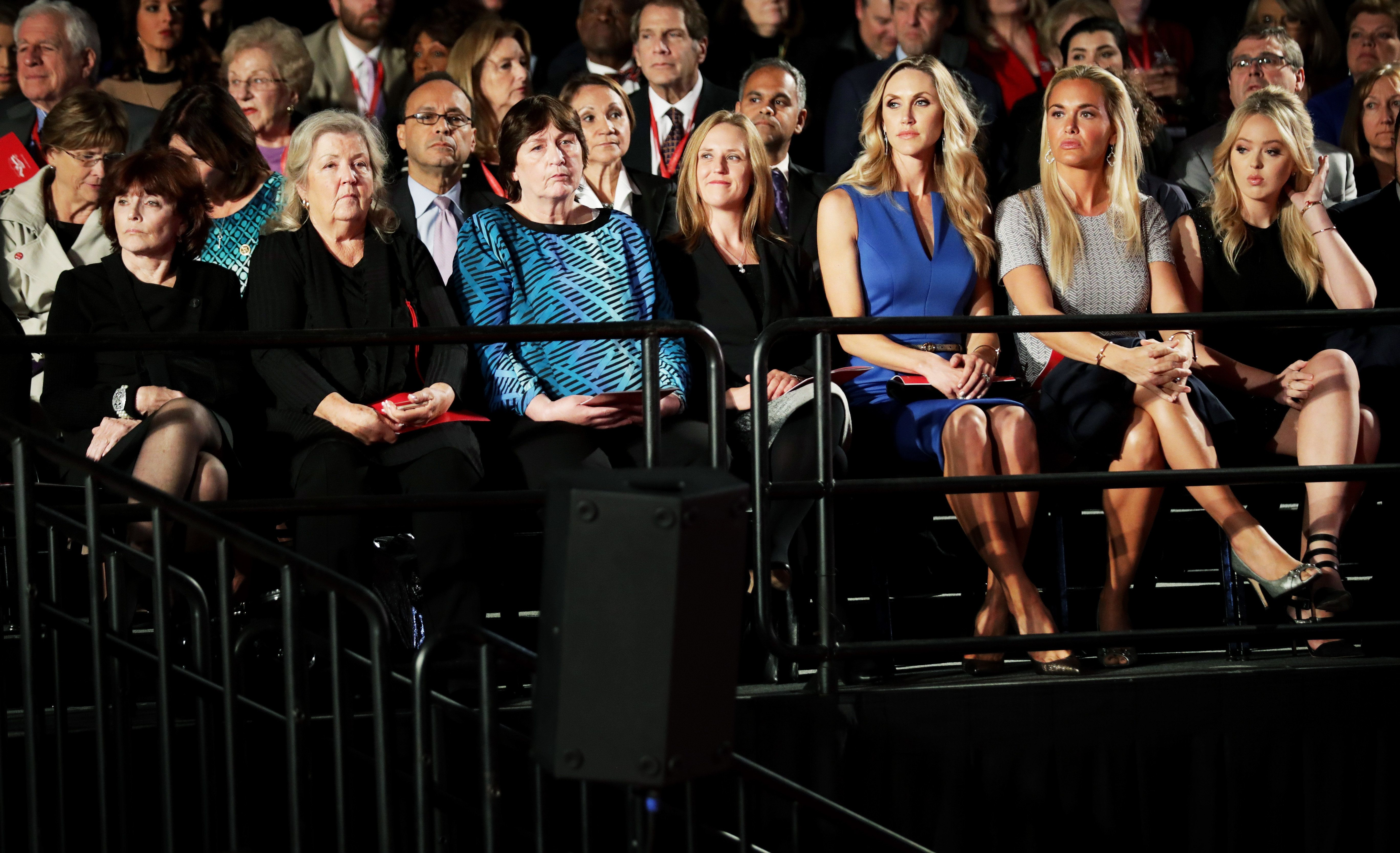 ST LOUIS, MO - OCTOBER 09:  (L-R) Kathleen Willey, Juanita Broaddrick, Kathy Shelton, a guest, Republican presidential nominee Donald Trump's daughters-in-law Lara Trump and Vanessa Trump and daughter Tiffany Trump  sit before the town hall debate at Washington University on October 9, 2016 in St Louis, Missouri. This is the second of three presidential debates scheduled prior to the November 8th election.  (Photo by Chip Somodevilla/Getty Images)