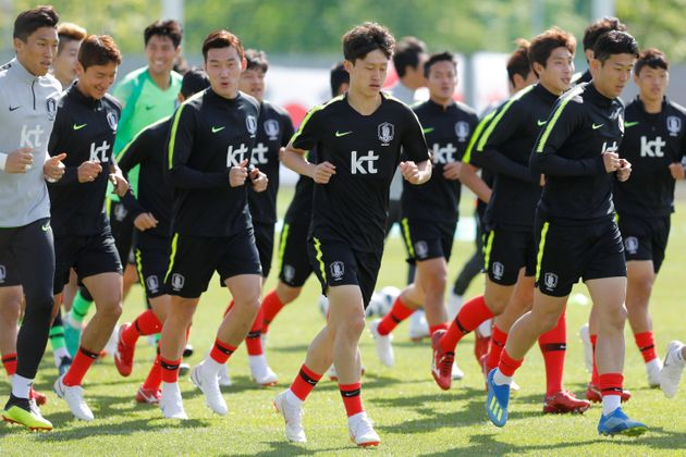 The South Korean soccer team at a training session in St. Petersburg, Russia, on June 13, before...