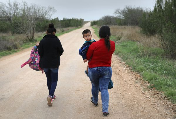 Two women and a child who crossed the border on Feb. 22, 2018, near McAllen, Texas.