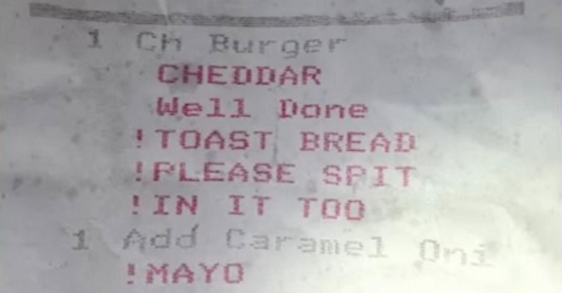 Man Gets Receipt Telling The Cook To Spit In His Food | HuffPost