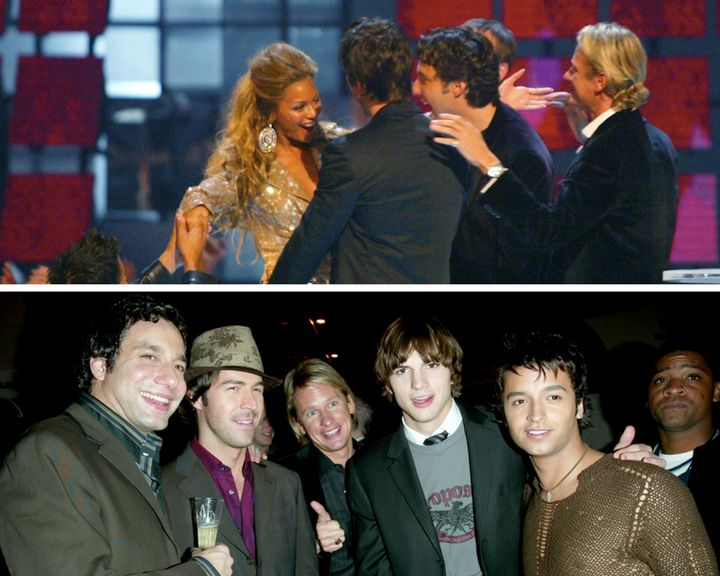 Top image: Beyoncé at the 2003 MTV Video Music Awards. Bottom image: Ashton Kutcher atVH1's Big In 2003 Awards.