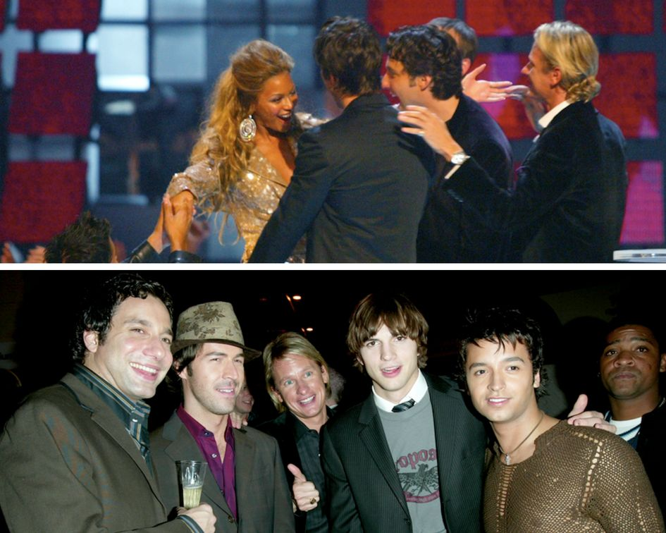 Top image: Beyoncé at the 2003 MTV Video Music Awards. Bottom image: Ashton Kutcher at VH1's Big In 2003