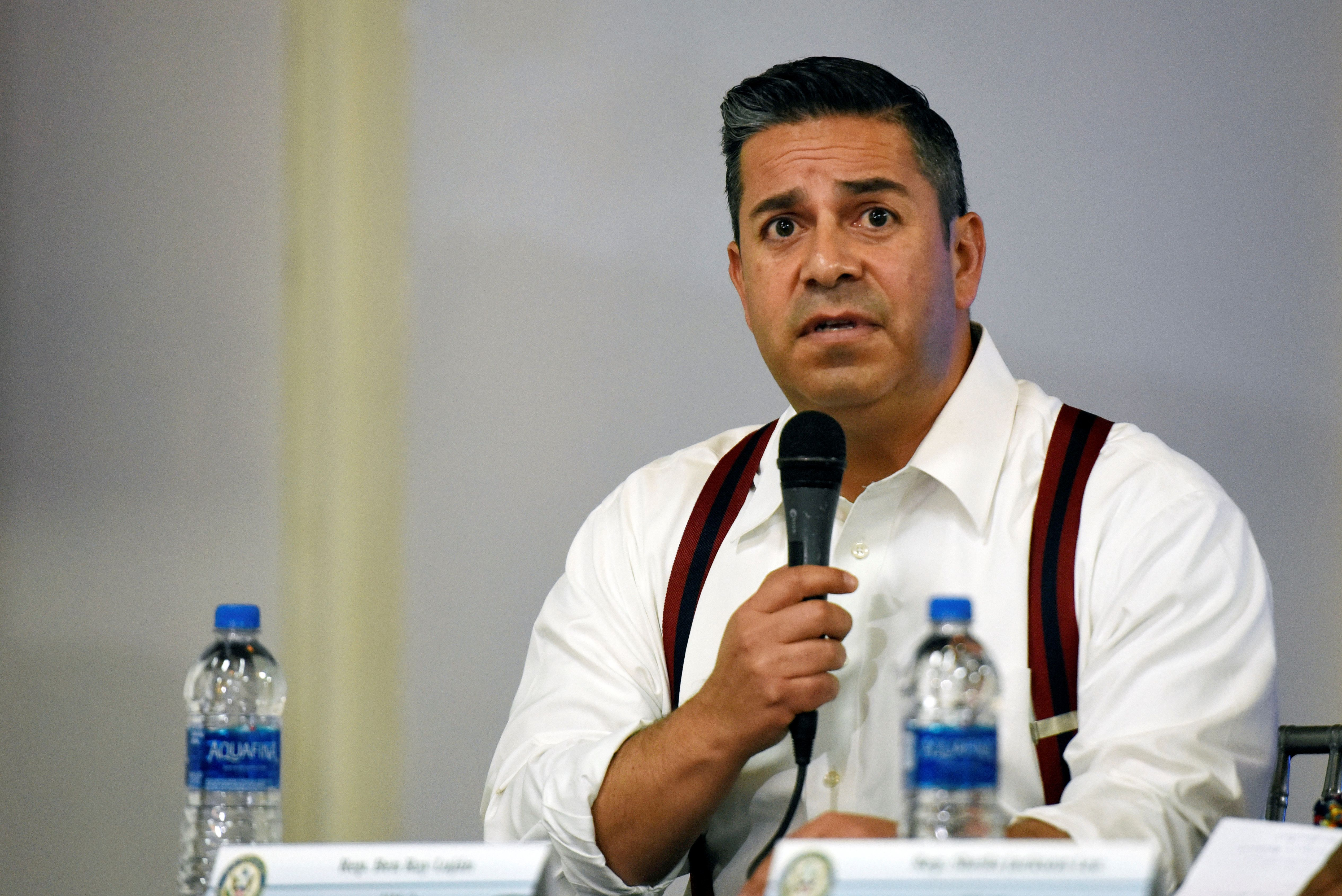 Rep. Ben Ray Luján (D-N.M.) speaks to reporters after visiting shelters in Brownsville, Texas, for minors apprehended