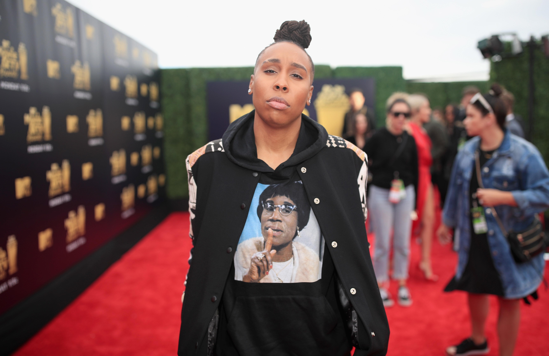 SANTA MONICA, CA - JUNE 16:  Filmmaker Lena Waithe attends the 2018 MTV Movie And TV Awards at Barker Hangar on June 16, 2018 in Santa Monica, California.  (Photo by Christopher Polk/Getty Images for MTV)
