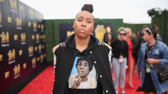 SANTA MONICA, CA - JUNE 16:  Filmmaker Lena Waithe attends the 2018 MTV Movie And TV Awards at Barker Hangar on June 16, 2018 in Santa Monica, California.  (Photo by Christopher Polk/Getty Images for MTV)