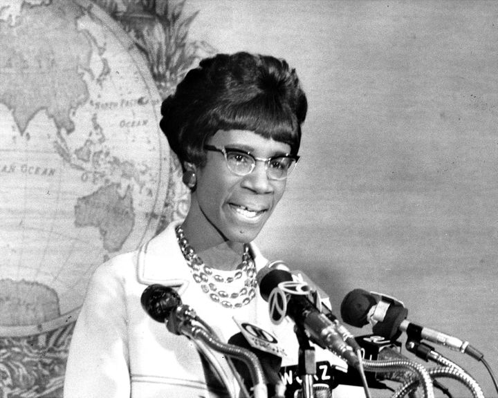 Rep. Shirley Chisholm (D-N.Y.) pictured at a press conference in 1970.