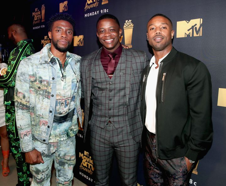 Chadwick Boseman, James Shaw Jr., and actor Michael B. Jordan attend the 2018 MTV Movie And TV Awards.