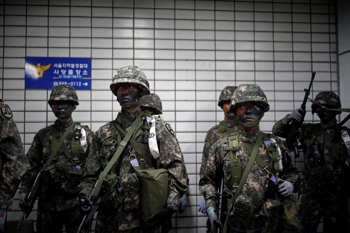 South Korean soldiers take part in an anti-terror drill as part of the Ulchi Freedom Guardian exercise in Seoul, South Korea&