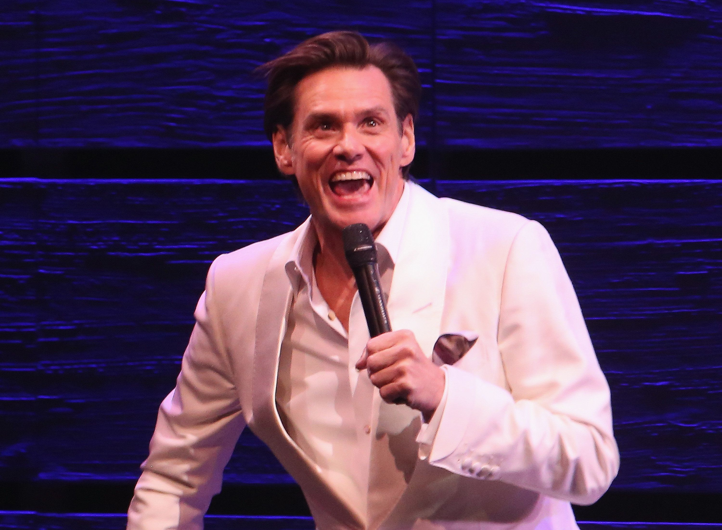 NEW YORK, NY - SEPTEMBER 07:  (EXCLUSIVE COVERAGE) Jim Carrey guest stars and makes his broadway debut in 'Michael Moore's play 'The Terms of My Surrender' on Broadway at The Belasco Theatre on September 7, 2017 in New York City.  (Photo by Bruce Glikas/Bruce Glikas/FilmMagic)