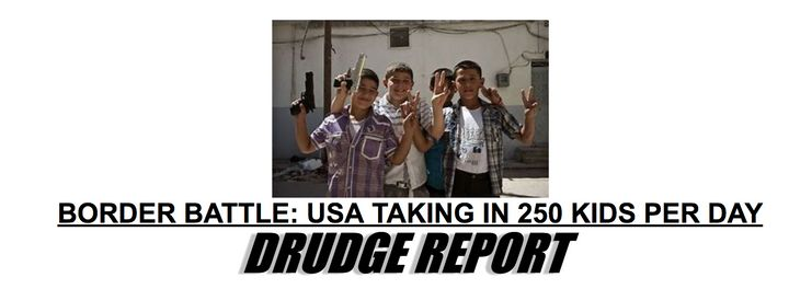 The Drudge Report's misleading headline/image pairing on June 18, 2018. It coupled an article about immigrant children coming