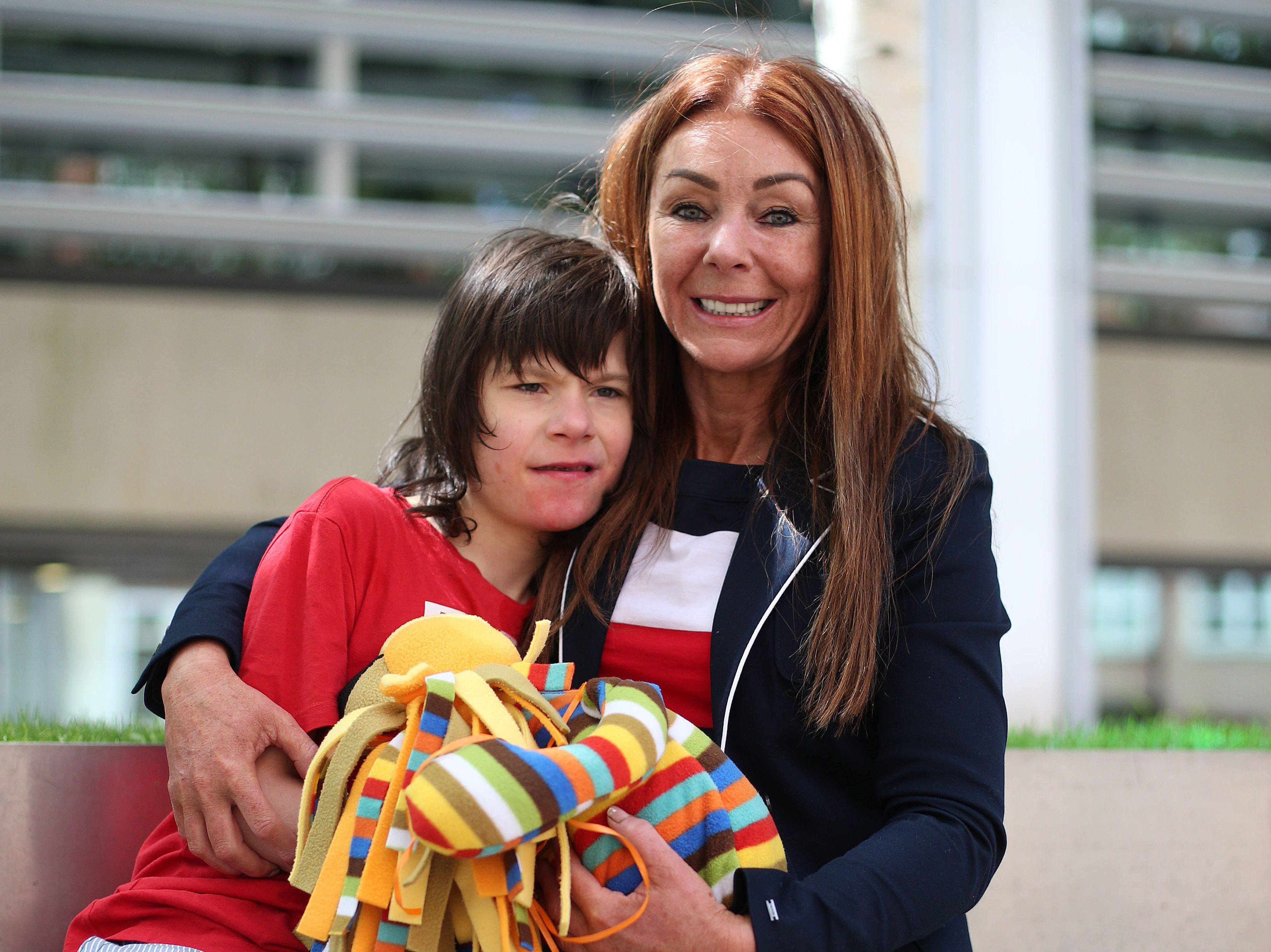 Charlotte Caldwell and her son Billy outside the Home Office in London ahead of a meeting with ministers...