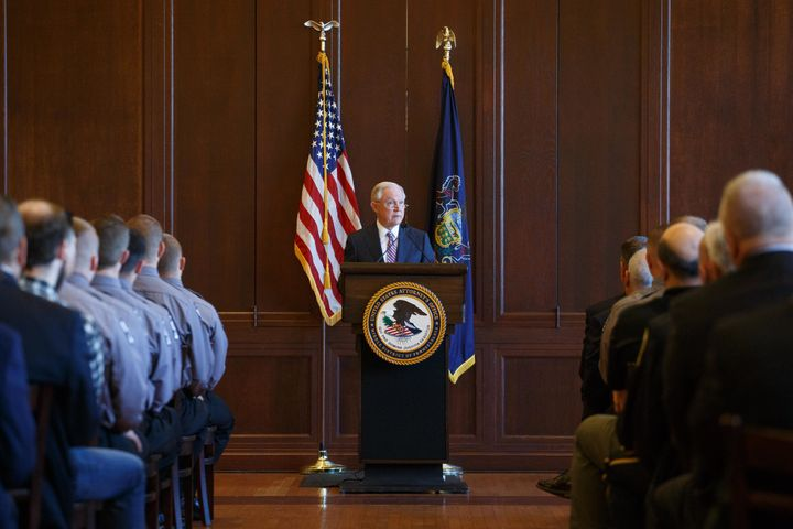 Attorney General Jeff Sessions addresses cadets at the Lackawanna College Police Academy in Scranton, Pen
