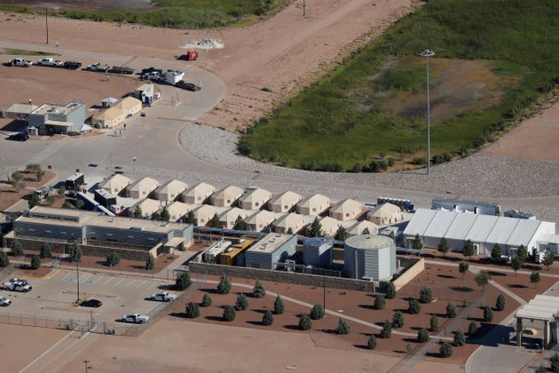 Tents used to detain immigrant children, many of whom have been separated from their parents, in Tornillo,...