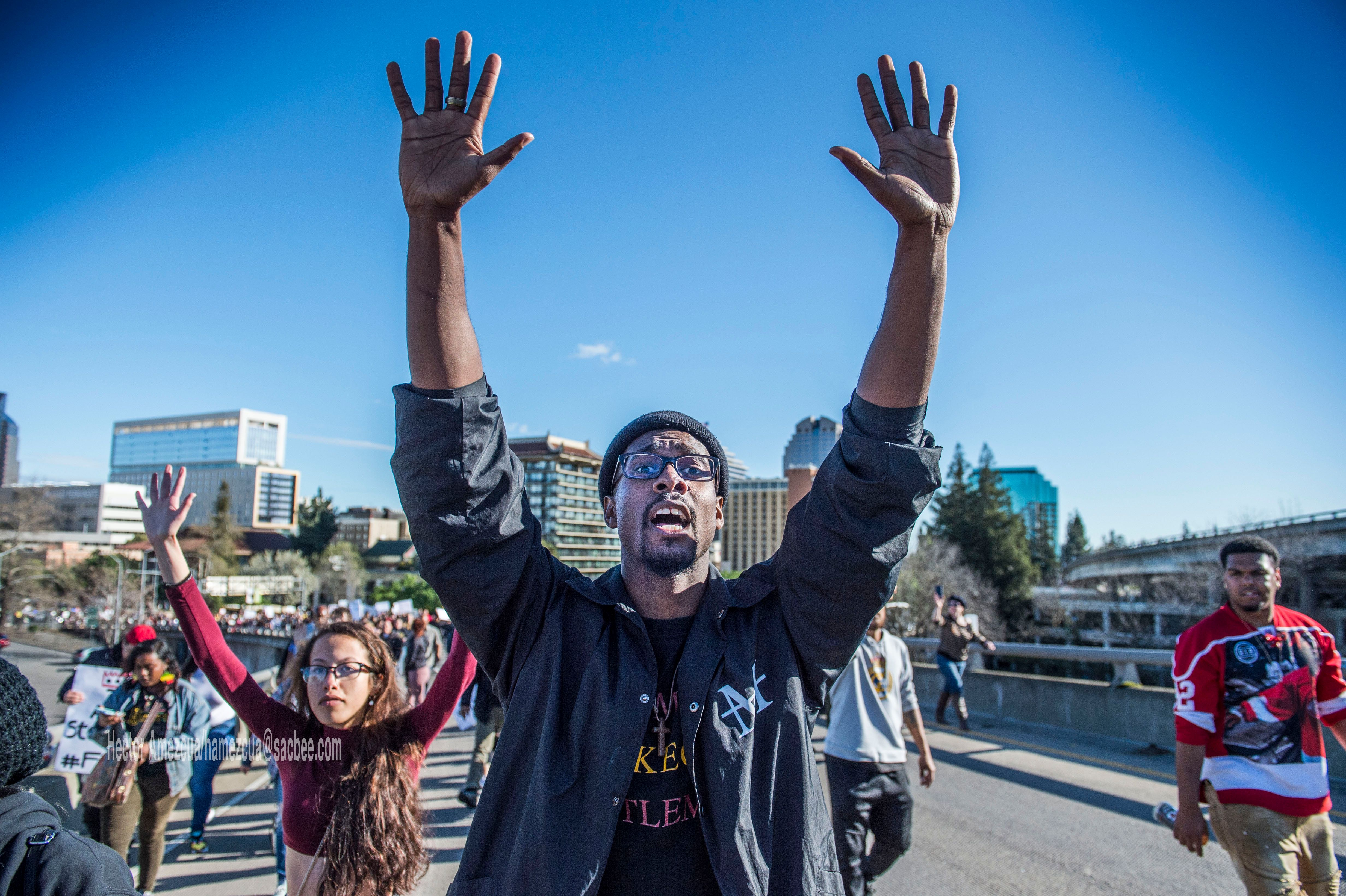 Black Lives Matter supporters walk on to the northbound Interstate 5 on-ramp from I street during a rally for Stephon Clark, a man that was shot by Sacramento Police Sunday night on southbound Interstate 5 near Old Sacramento, on Thursday, March 22, 2018. (Hector Amezcua/Sacramento Bee/TNS via Getty Images)