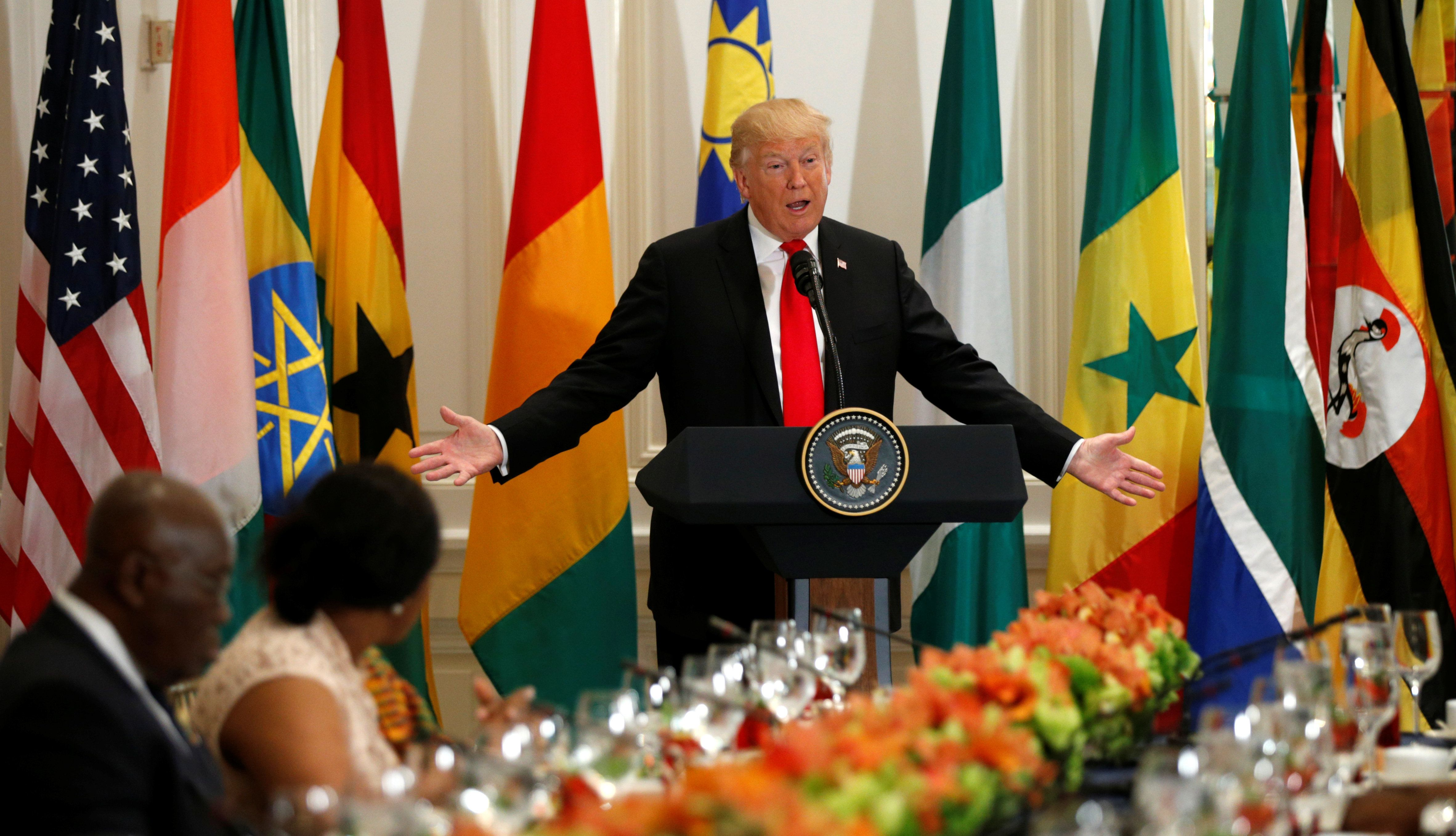 U.S. President Donald Trump speaks during a working lunch with African leaders during the U.N. General Assembly in New York, U.S., September 20, 2017. REUTERS/Kevin Lamarque