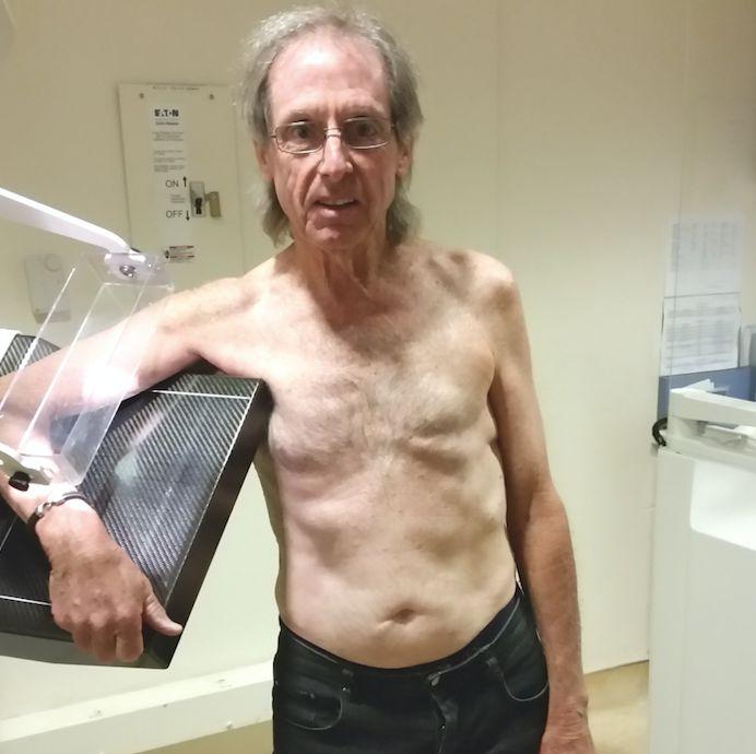KhevinBarnes at his annual mammogram check-up atArizona Radiology.