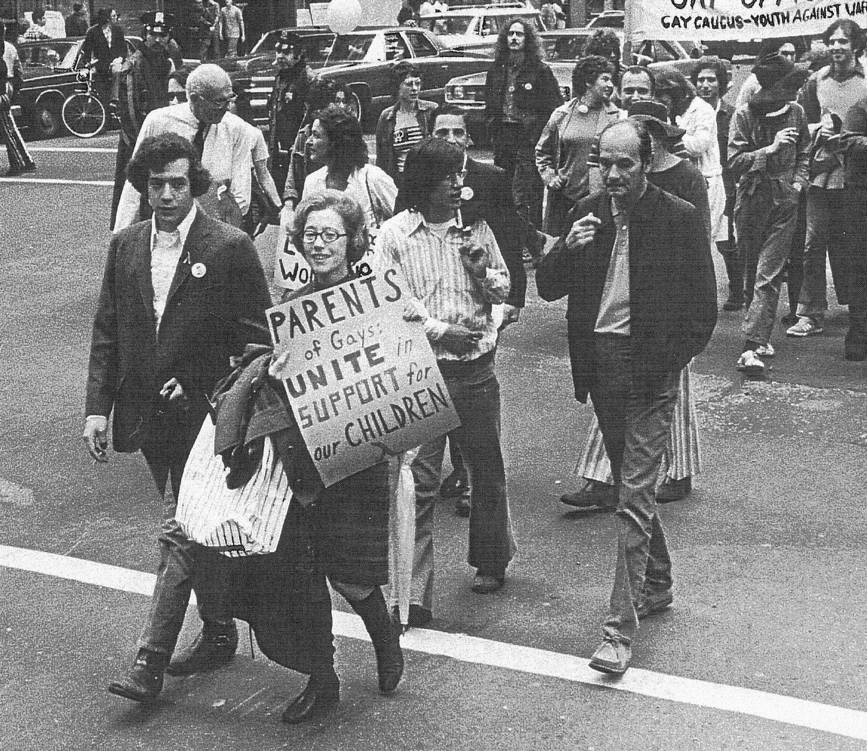 The moment that started it all: Jeanne Manford marches with son activist Morty Manford at the 1972 Christopher Street Liberation Day March