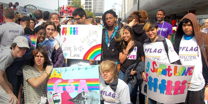 Youth from PFLAG Atlanta celebrate Pride.
