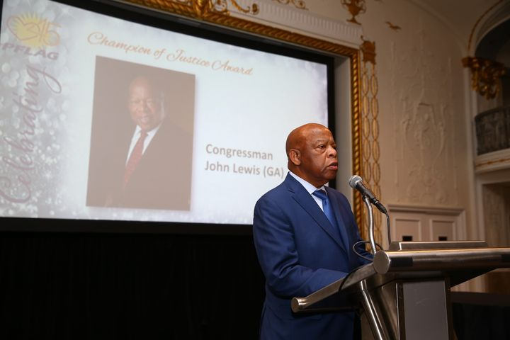 Rep. John Lewis (D-Ga.) accepts the PFLAG National Champion of Justice Award at the organization's 45th anniversary celebrati