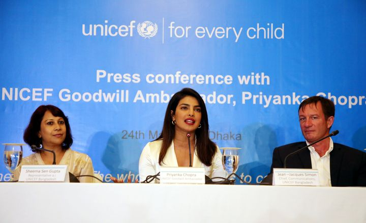 UNICEF Goodwill Ambassador Priyanka Chopra speaks at a news conference in Dhaka, Bangladesh, on May 24, 2018.