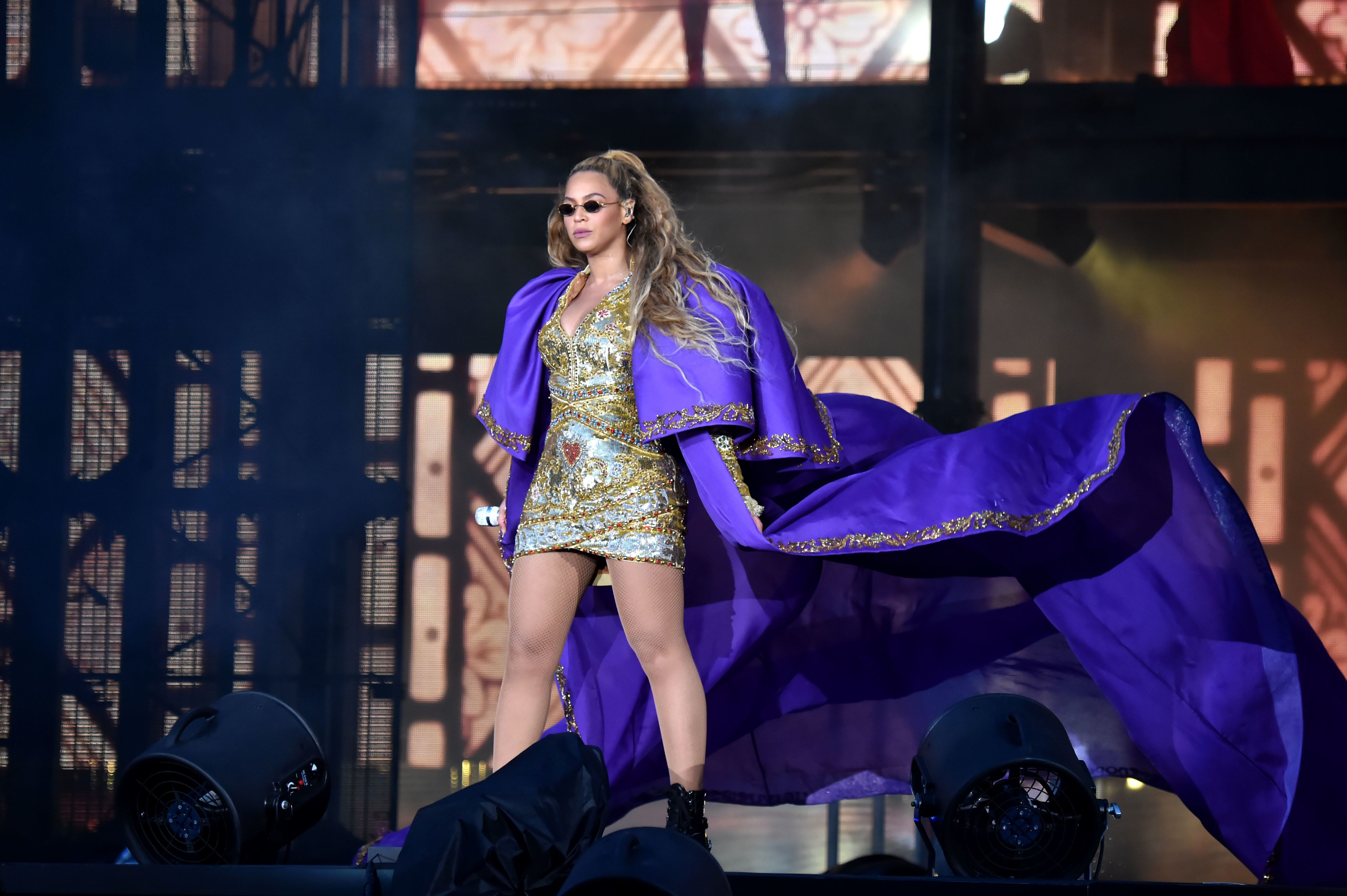 GLASGOW, SCOTLAND - JUNE 09:  Beyonce performs in purple on stage during the 'On the Run II' Tour with Jay-Z at Hampden Park on June 9, 2018 in Glasgow, Scotland.  (Photo by Kevin Mazur/Getty Images For Parkwood Entertainment)