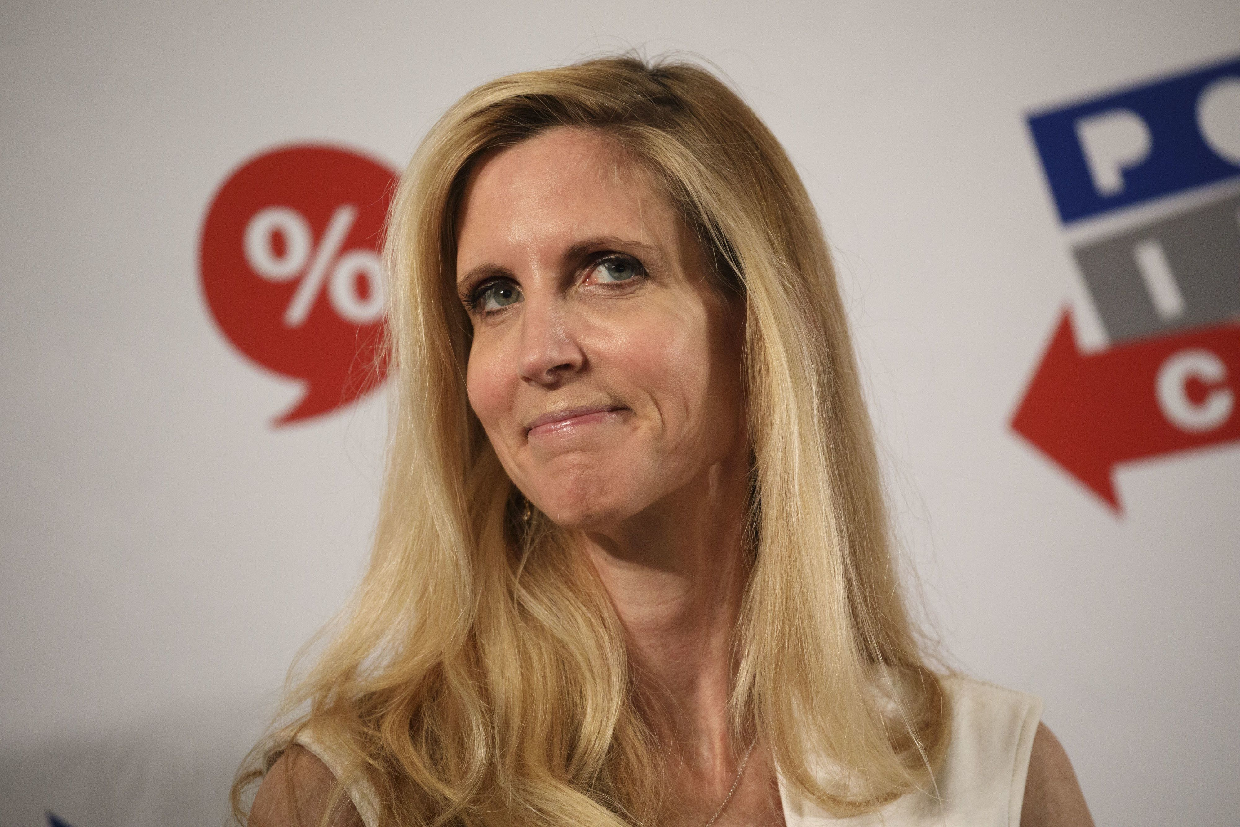Author Ann Coulter listens during a panel discussion at the Politicon convention inside the Pasadena Convention Center in Pasadena, California, U.S., on Saturday, July 29, 2017. During the third annual Politicon pundits, politicians, comedians and entertainers gather to discuss issues that touch all sides of the political spectrum. Photographer: Patrick T. Fallon/Bloomberg via Getty Images