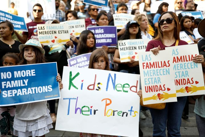 Protests against President Donald Trump's executive order to detain children crossing the U.S. border and separating families