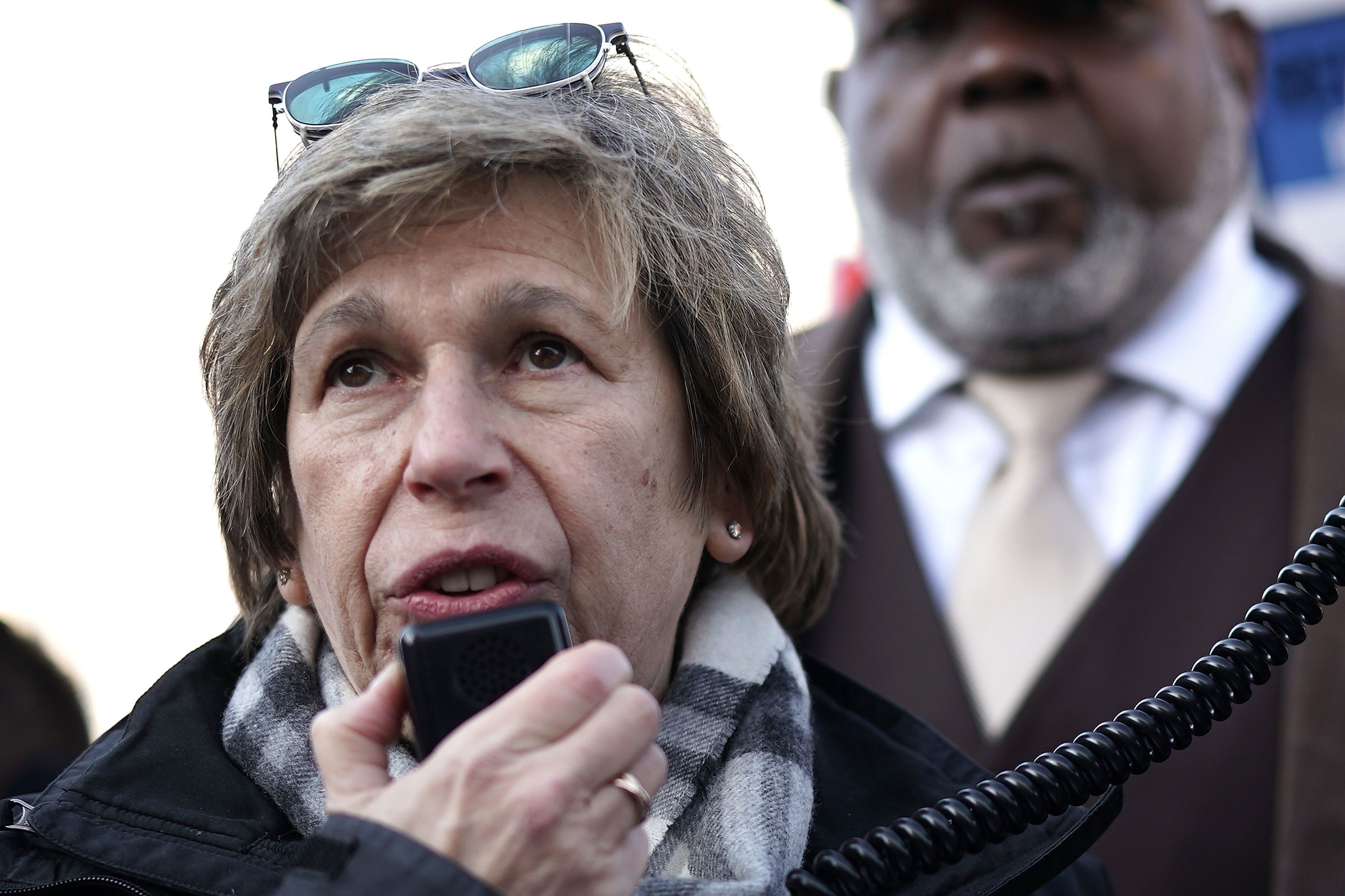 WASHINGTON, DC - FEBRUARY 08: American Federation of Teachers President Randi Weingarten speaks during a rally to deliver report cards to Secretary of Education Betsy DeVos outside the Department of Education February 8, 2018 in Washington, DC. Activists tried to deliver over 80,000 report cards to Secretary DeVos, grading her performance as 'failed.' (Photo by Alex Wong/Getty Images)