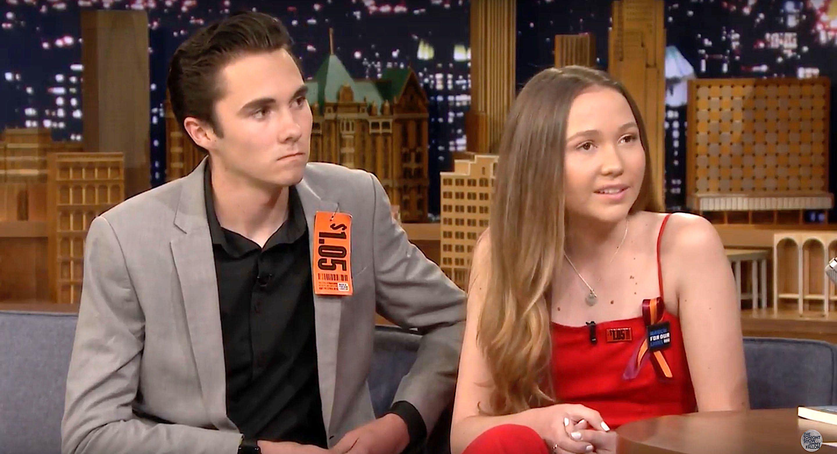 David and Lauren Hogg talking about the shootings in Parkland Florida on The Tonight Show