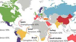 각국 시민들의 가장 큰 걱정거리를 지도로