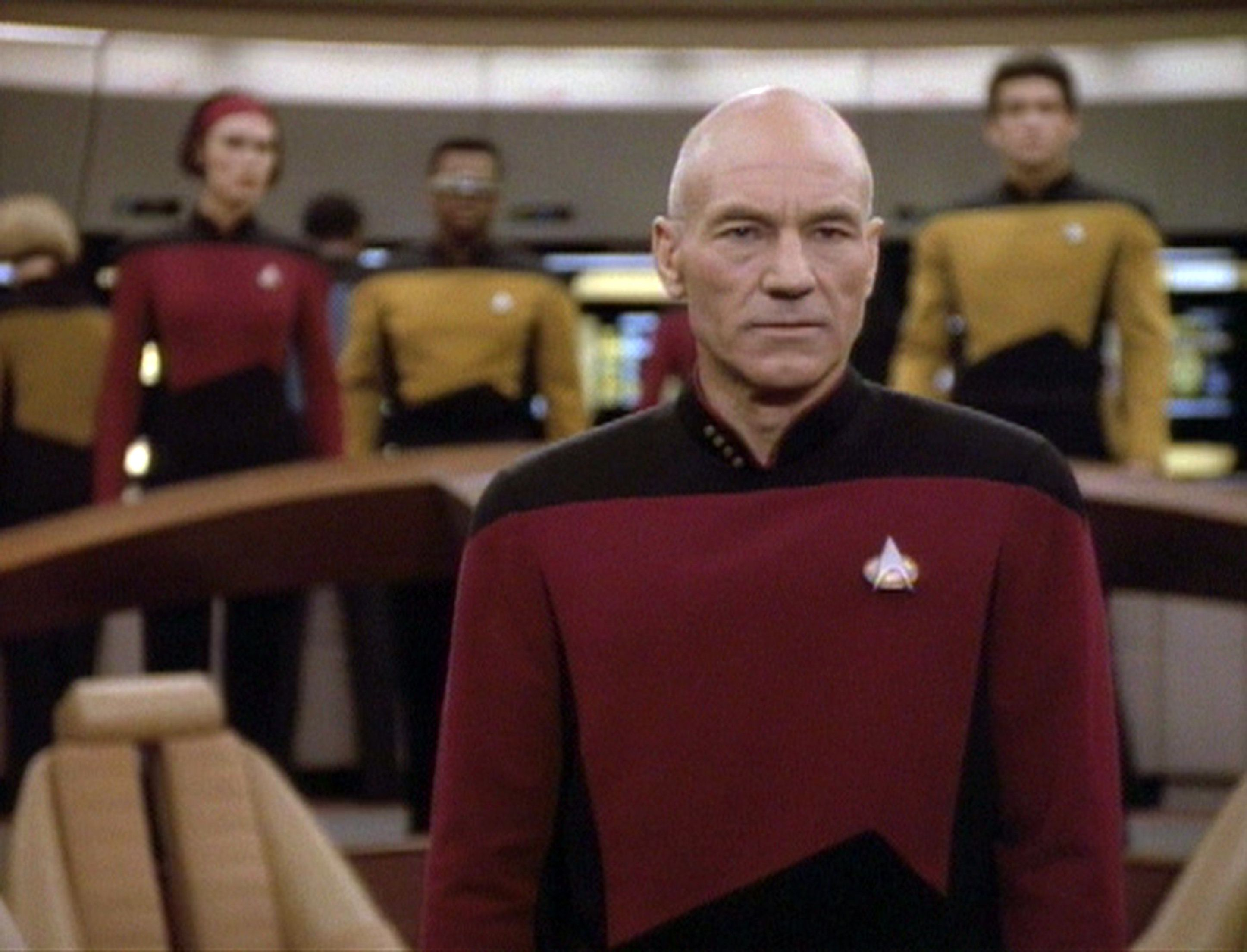 British actor Patrick Stewart (as Captain Jean-Luc Picard) in a scene from an episode of the television series 'Star Trek: The Next Generation' entitled 'The Next Phase,' California, May 16, 1992. (Photo by CBS Photo Archive/Getty Images)