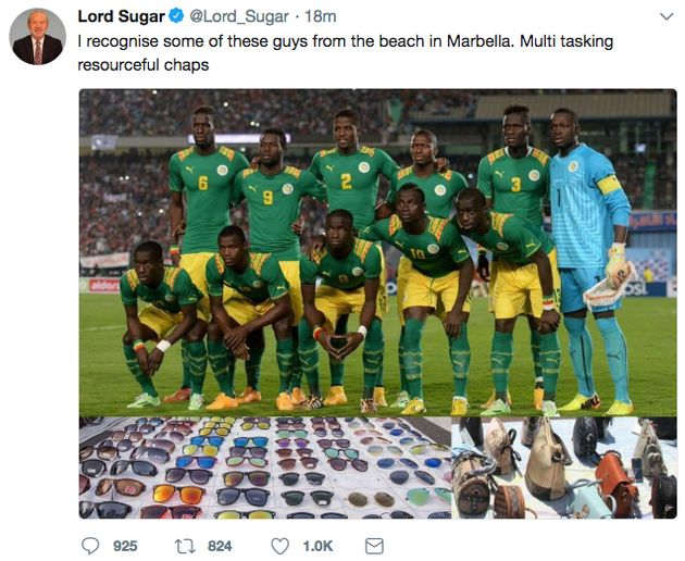 Lord Sugar Forced To Apologise For Tweeting 'Racist' Joke About Senegal Football