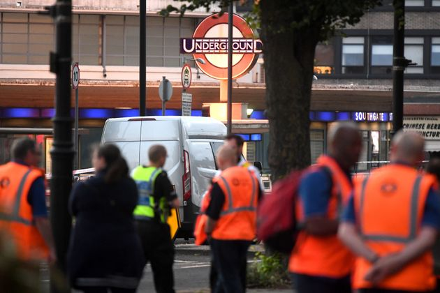 Emergency services at the scene at Southgate tube station after reports of a minor