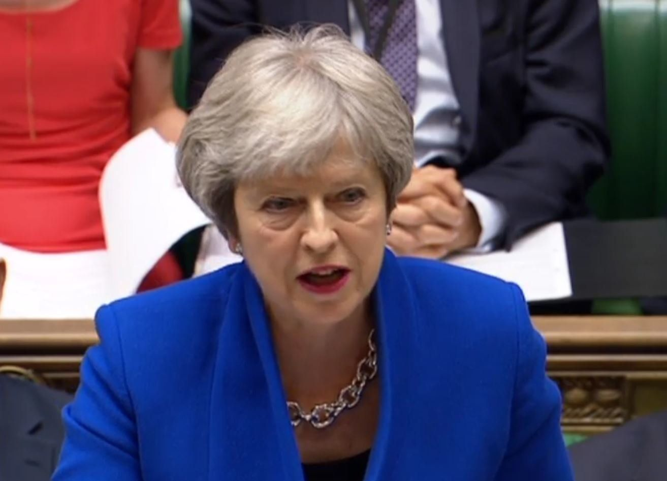 Prime Minister Theresa May speaks during Prime Minister's Questions in the House of