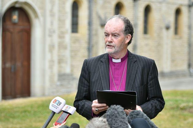 Bishop James Jones delivers a statement on behalf of the panel outside Portsmouth