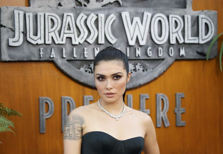 "Daniella Pineda arrives at the Los Angeles premiere of ""Jurassic World: Fallen Kingdom."""