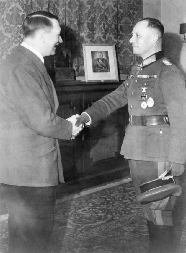 Erwin Rommel (right) shakes the hand of Nazi leader Adolf