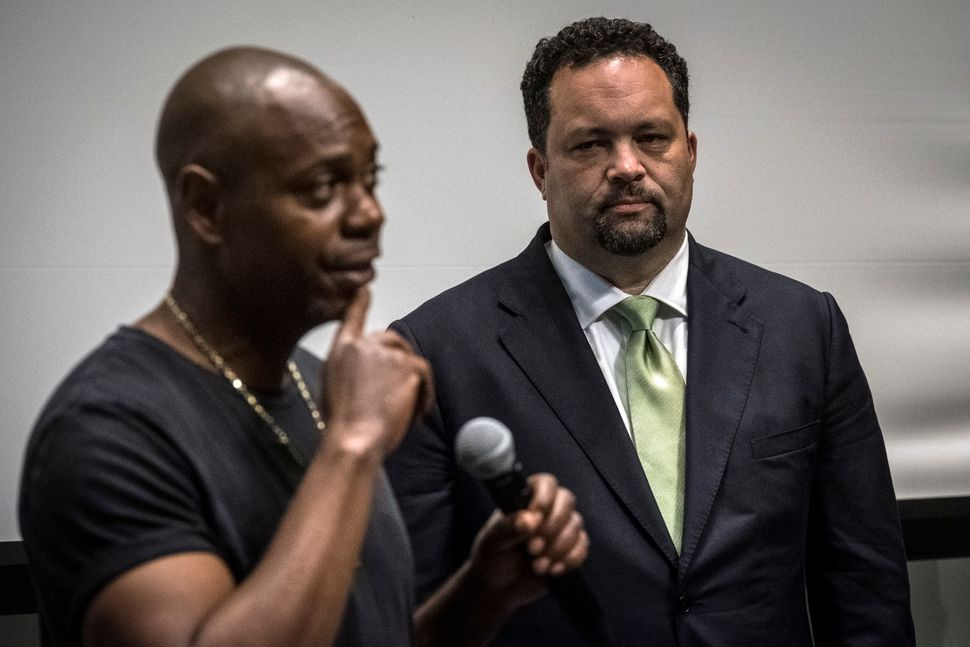 The major policy that Jealous (right) and his friend, comedian Dave Chappelle, discussed in Baltimore earlier this month? Mar