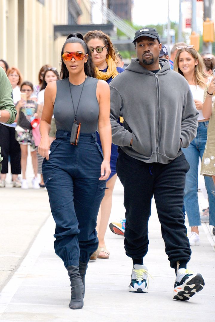 Kim Kardashian and Kanye West out and about in Manhattan on June 15.